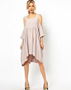 Image 4 ofASOS PETITE Smock Dress With Strap Cold Shoulder