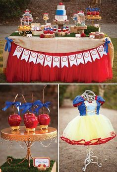 Snow White and the Seven Dwarfs in Woodland Birthday Party // Hostess with the Mostess® Princesse Party, Fairytale Party, Snow White Birthday, Disney Princess Party, Festa Party, Woodland Party, Childrens Party, Birthday Party Themes, Birthday Ideas
