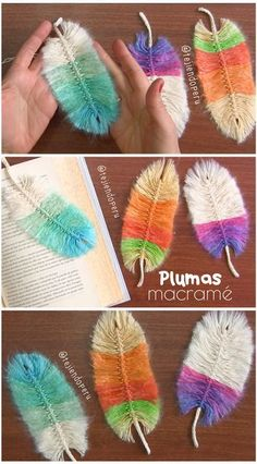 Plumas macrame de colores paso a paso 😍 Macrame feathers tutorial 😃 arts and crafts and projects Crochet Flower Patterns, Macrame Patterns, Crochet Flowers, Crochet Doilies, Crochet Feather, Crochet Cord, Diy Crochet, Pom Pom Crafts, Yarn Crafts