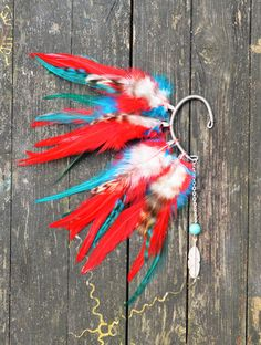 Feather Ear Cuff  Red and Blue by Njuu on Etsy