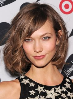 Karlie Kloss's full, textured bob with side swept bangs. A Shortcut to Spring - NYTimes.com