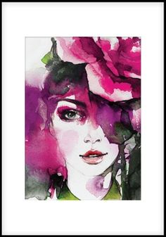 Beautiful poster with watercolor print of a woman and pink flowers. The design goes all the way to the edge of the print. This poster has beautiful colors of pink, purple and green that really brighten up the interior of the home. We have more art posters and art prints that you can match easily with this poster. Desenio.co.uk
