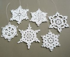 6 Crochet Christmas Decorations -- Large Snowflake Assortment ST3 ...