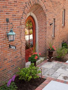 Red Brick Design, Pictures, Remodel, Decor and Ideas - page 5  Door is Valspar Tomato Red WV38104