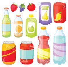 Drinks and soda bottle set. Soda Bottles, Drink Bottles, Beverage Packaging, Free Vector Art, Drinking Water, Alcoholic Drinks, Illustration Art, Water Bottle, Image