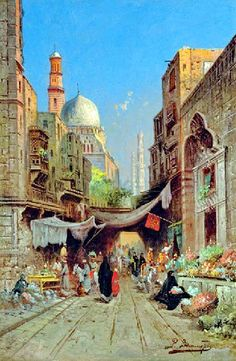 At the Bazaar , Cairo  by Richard Karlovich Zommer - Russian , 1866-1939
