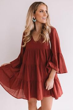 Summer Fashion Tips Sunrise Sippin' Babydoll Dress in Aurora Red.Summer Fashion Tips Sunrise Sippin' Babydoll Dress in Aurora Red Pink Mini Dresses, Cute Dresses, Cute Outfits, Summer Dresses, Fall Color Dresses, Boho Fashion, Autumn Fashion, Fashion Dresses, Fashion Clothes