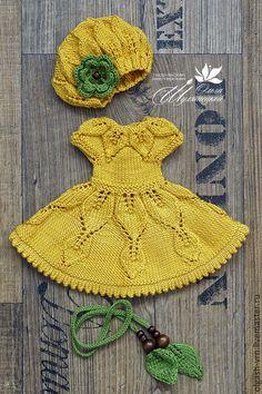 Купить Вязаный комплект для Paola Reina - желтый - желтый, одежда для кукол, вязаная одежда для кукол