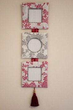 Idea: Ténica de cartonnage y tela. Excelente idea para decorar una pared