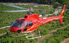 Download wallpapers Airbus Helicopters H125, 4k, civil aviation, Eurocopter AS350, passenger helicopters, AS350 B3e, H125, Airbus, Eurocopter, red helicopter