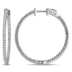 Shop for Miadora Signature Collection White Gold TDW Diamond Inside Outside Hoop Earrings. Get free delivery On EVERYTHING* Overstock - Your Online Jewelry Destination! White Gold Diamonds, Rose Gold, Snow Fashion, Diamond Hoop Earrings, Round Cut Diamond, 925 Silver, Jewelery, Bling, Soup