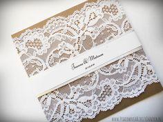 Romantyczne koronkowe zaproszenia ślubne