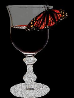 Wine And Butterfly Best Wine Glass Images, Types Of Red Wine, Wine Auctions, Butterfly Pictures, Wine Wall, Butterfly Effect, Glitter Graphics, Wine Storage, Wine Making