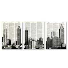 Atlanta Georgia Skyline 3 pack dictionary prints Cityscape awesome upcycled vintage dictionary page book art prints. $21.99, via Etsy.