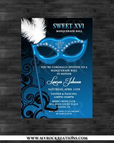 Masquerade Sweet 16 Digital Printable Invitation by rockreations, $15.00