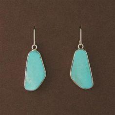 Turquoise Slab Flat Nugget Dangle Earrings