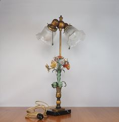 Antique Toleware Lamp Ornate Floral Bouquet Bouquet with Glass Shades and Marble Base by FireflyVintageHome