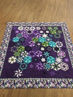 Tumbling Blocks Quilt, Quilt Blocks, One Block Wonder, Sewing Projects, Projects To Try, Kaleidoscope Quilt, Purple Quilts, Make Pictures, Contemporary Quilts