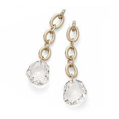 Par de brincos de ouro amarelo 18K com cristais de rocha e diamantes http://m.hstern.com.br/joia/brinco/dvf/B2CR171709