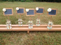 Rustic Wedding Chalkboard Signs - Standing Chalkboard - Shabby Chic Wedding - Chalkboard Table Numbers - Wedding Table Signs - Table Numbers by CountryBarnBabe on Etsy https://www.etsy.com/hk-en/listing/110767214/rustic-wedding-chalkboard-signs-standing