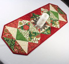 Quilted Christmas Table Runner Holiday Charms by QuiltSewPieceful, $40.00