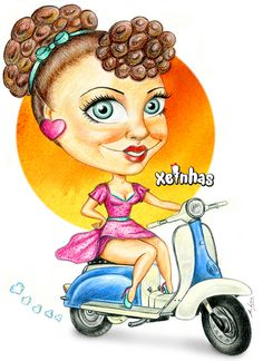 Pin-Up Cartoon Xeinha scooter
