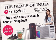 91e9710b9  Snapdeal Announces Mega Deals Festival  Offers Upto 70 Percent Discount  Percents