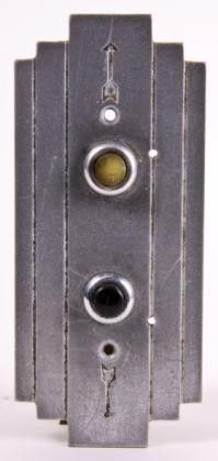 streamlined art deco style cast aluminum elevator cab call push button backplate