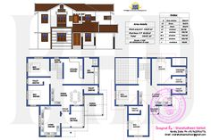 3 different home designs one floor plan in an area of 2422 square feet by Sharafudheen Vattoli from Malappuram, Kerala. Free House Plans, Sims House Plans, Small House Floor Plans, House Layout Plans, House Layouts, Indian Home Design, Kerala House Design, Classic House Design, Simple House Design