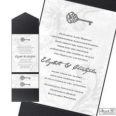 Key to My Heart Wedding Invitation with Pocket - Pewter