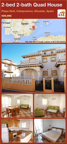 Quad House for Sale in Playa Golf, Campoamor, Alicante, Spain with 2 bedrooms, 2 bathrooms - A Spanish Life Valencia, Quad, Portugal, Golf, Alicante Spain, Side Garden, Family Bathroom, Double Bedroom, Murcia