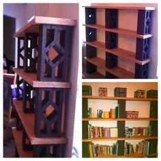 Cinder block & wood bookshelf. Blocks + spray paint + wood = awesome.