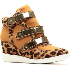 CiCiHot Leopard Print Gold Velcro Strap Sneaker Wedges ($43) ❤ liked on Polyvore featuring shoes, wedges, velcro sneakers, wedge heel sneakers, wedge sneakers, leopard wedge shoes and leopard sneakers