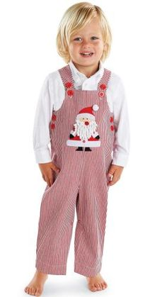 98f4f9e4fe65 Mud Pie Boy s Christmas Overalls  Infant or Baby Red Striped Twill Santa  Overalls
