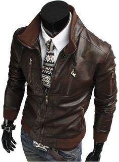 New Mens Genuine Lambskin Leather Slim Fit Biker Motorcycle Jacket for Men T484