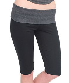 Black & Charcoal Fold-Over Capri Leggings - Plus Too by Magid #zulily #zulilyfinds