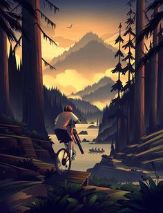 Riding a bycicle in the forest illustration Cl Design, Bike Illustration, Forest Illustration, Scenery Wallpaper, Bike Art, Landscape Art, Cool Art, Concept Art, Images