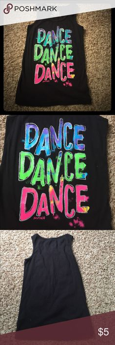 Justice black DANCE tank top Super fun black tank top from Justice with DANCE DANCE DANCE written on it. 95% cotton, 5% spandex Justice Shirts & Tops Tank Tops