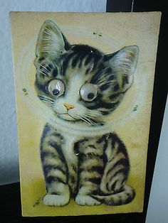 Vintage Jiggly Googly Eyes Cat Postcard Squeaky Card made in Japan
