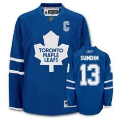 Sundin Blue Jersey, NHL Toronto Maple Leafs #13 C Patch Jersey