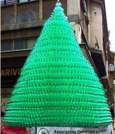Albero di Natale.  Quello che vedete è un bellissimo albero di Natale ottenuto dal riciclo di 4000 bottiglie di plastica. E' stato installato a Bagnaia frazione di Viterbo. Per gli anni a venire l'obiettivo sarà un albero ancora più grande ottenuto dal riciclo di 6000 bottiglie.