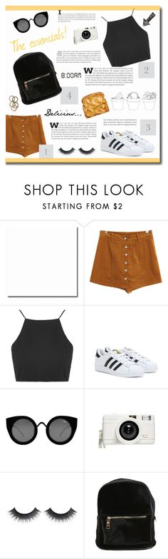 """""""Sin título #85"""" by florii17 ❤ liked on Polyvore featuring Chicnova Fashion, Topshop, adidas, Quay, Lomography and Rachel Leigh"""
