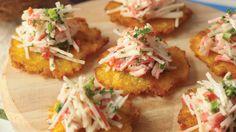Patacones con ensalada de cangrejo