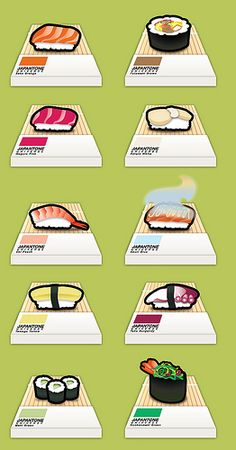 Japantone - full size Sushi meets Pantone, creating a colour pallet for the true Japanese Food Addict!