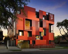 "West Hollywood Apartment Building - ""Raucous Orange"" and ""Coronado Red"" metal facade from Metal Sales. Very fun."