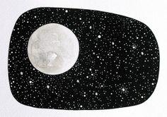 Moon 11 - Original Contemporary Watercolor Painting - Astronomy Art, Constellations - by Natasha Newton