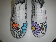 Handcrafted Doodle Graffiti Sneakers Ladybugs by mycoolsneakers, $40.00