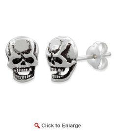 $19.99 * Sterling Silver Skull Head #Earrings