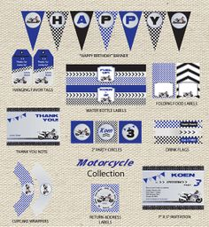 Motorcycle Birthday Party Collection by GigglesandGraceDesig, $29.50