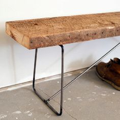 Wood slab and bent potato web welded together